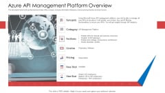 API Administration Solution Azure API Management Platform Overview Ppt Pictures Example Topics PDF