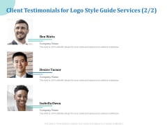 A Step By Step Guide To Creating Brand Guidelines Client Testimonials For Logo Style Guide Services Marekting Template PDF