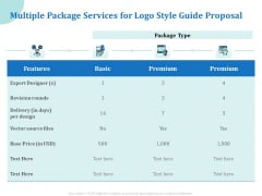 A Step By Step Guide To Creating Brand Guidelines Multiple Package Services For Logo Style Guide Proposal Pictures PDF