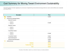 A Step Towards Environmental Preservation Cost Summary For Moving Toward Environment Sustainability Clipart PDF