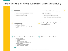 A Step Towards Environmental Preservation Table Of Contents For Moving Toward Environment Sustainability Portrait PDF