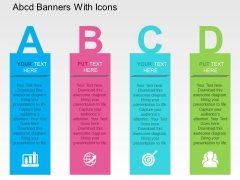 Abcd Banners With Icons Powerpoint Templates