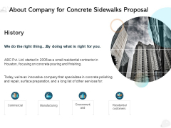 About Company For Concrete Sidewalks Proposal Ppt PowerPoint Presentation Show Model