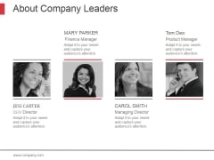 About Company Leaders Ppt PowerPoint Presentation Topics