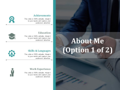 About Me Achievements Ppt Powerpoint Presentation Pictures Graphics Design Cpb
