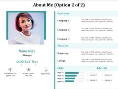About Me Business Ppt Powerpoint Presentation Gallery Tips Cpb