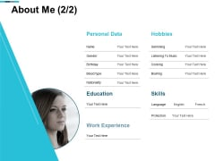 About Me Education Skill Ppt PowerPoint Presentation File Master Slide