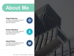 About Me Target Audiences Ppt Powerpoint Presentation Summary Slide Download
