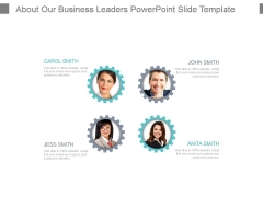 About Our Business Leaders Powerpoint Slide Template