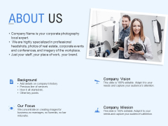 About Us Background Our Focus Ppt PowerPoint Presentation Model Graphic Tips