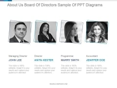 About Us Board Of Directors Ppt PowerPoint Presentation Topics