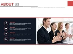 About Us Design With Social Media Links Powerpoint Slides