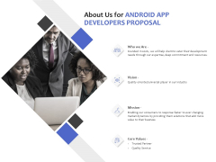 About Us For Android App Developers Proposal Ppt PowerPoint Presentation Summary Display
