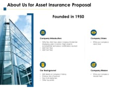 About Us For Asset Insurance Proposal Ppt PowerPoint Presentation Icon Slide Download