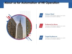 About Us For Automation Of HR Operation Target Ppt PowerPoint Presentation File Information PDF