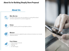 About Us For Building Shopify Store Proposal Ppt PowerPoint Presentation Infographic Template Guide