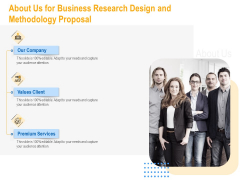 About Us For Business Research Design And Methodology Proposal Portrait PDF