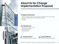 About Us For Change Implementation Proposal Ppt PowerPoint Presentation Show Samples