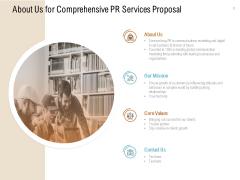 About Us For Comprehensive PR Services Proposal Ppt PowerPoint Presentation Inspiration Slides