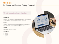 About Us For Contractual Content Writing Proposal Ppt PowerPoint Presentation Ideas Background Images PDF