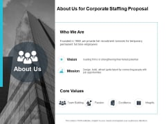 About Us For Corporate Staffing Proposal Ppt PowerPoint Presentation Pictures Grid