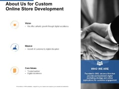 About Us For Custom Online Store Development Ppt PowerPoint Presentation Show Guidelines