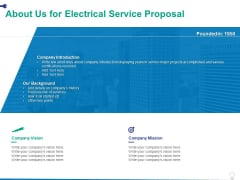 About Us For Electrical Service Proposal Ppt PowerPoint Presentation Icon Topics