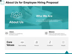 About Us For Employee Hiring Proposal Ppt PowerPoint Presentation Slides Example