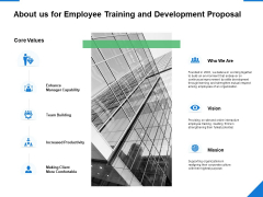 About Us For Employee Training And Development Proposal Ppt PowerPoint Presentation Pictures Graphics Tutorials