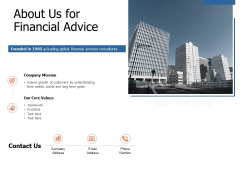 About Us For Financial Advice Ppt Powerpoint Presentation Pictures Samples