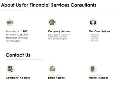 About Us For Financial Services Consultants Ppt PowerPoint Presentation Infographic Template Images