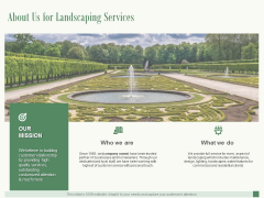 About Us For Landscaping Services Ppt PowerPoint Presentation Show Slide Portrait