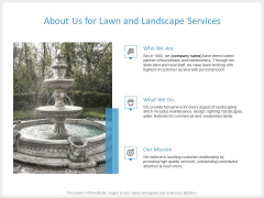 About Us For Lawn And Landscape Services Ppt PowerPoint Presentation Pictures Designs Download