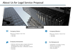 About Us For Legal Service Proposal Ppt PowerPoint Presentation Ideas Infographics