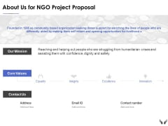 About Us For Ngo Project Proposal Ppt Powerpoint Presentation Gallery Ideas
