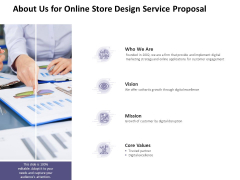About Us For Online Store Design Service Proposal Ppt PowerPoint Presentation Ideas Smartart