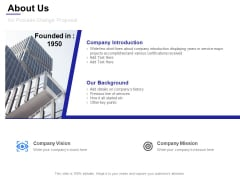 About Us For Process Change Proposal Ppt Powerpoint Presentation Show Layouts