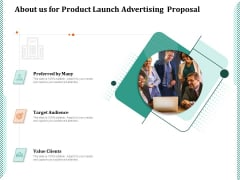 About Us For Product Launch Advertising Proposal Ppt PowerPoint Presentation Layouts Brochure PDF