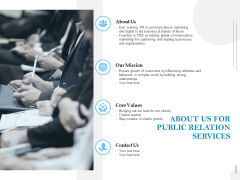 About Us For Public Relation Services Ppt PowerPoint Presentation Summary Clipart