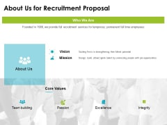 about us for recruitment proposal ppt powerpoint presentation model icon