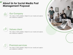 About Us For Social Media Post Management Proposal Ppt PowerPoint Presentation Model Graphics Tutorials PDF