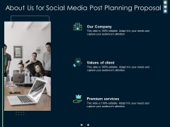 About Us For Social Media Post Planning Proposal Ppt PowerPoint Presentation File Structure