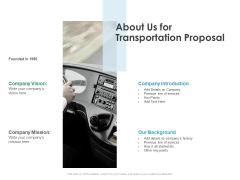 About Us For Transportation Proposal Ppt PowerPoint Presentation Summary Slide Portrait