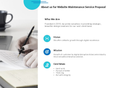 About Us For Website Maintenance Service Proposal Ppt PowerPoint Presentation Model Samples