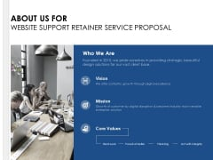 About Us For Website Support Retainer Service Proposal Ppt PowerPoint Presentation Gallery Pictures
