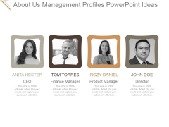 About Us Management Profiles Ppt PowerPoint Presentation Professional