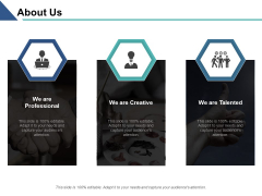 About Us Professional Creative Talented Ppt PowerPoint Presentation Show Design Inspiration