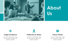 About Us Target Audience Ppt Powerpoint Presentation Outline Mockup