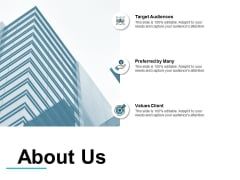 About Us Target Audiences Ppt PowerPoint Presentation Infographic Template Example Introduction
