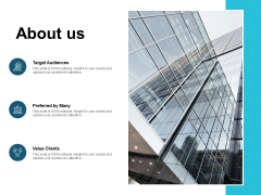 About Us Target Audiences Ppt PowerPoint Presentation Inspiration Microsoft